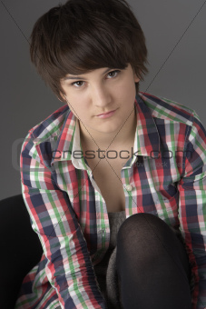 Close Up Studio Portrait Of Teenage Girl