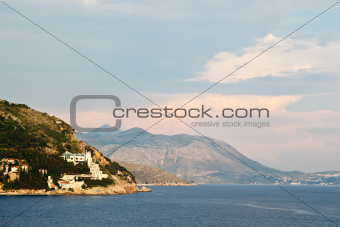 View on Mediterranean Sea and Mountains in Dubrovnik, Croatia
