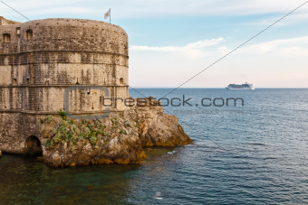 Cruise Ship Approaching City Walls of Dubrovnik, Croatia