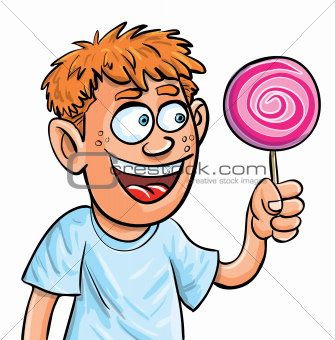 Cartoon boy eating lollypop. Isolated