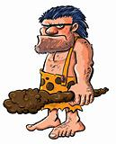 Cartoon caveman with a club.