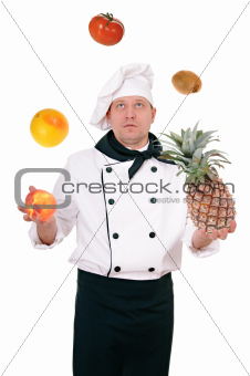 chef with fruit