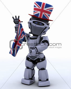 Robot in Union Jack Hat with Flag