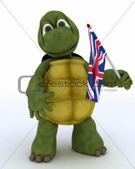 Tortoise with Union Jack Flag