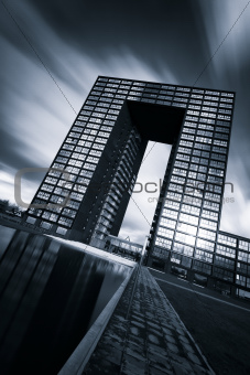 Office building in black and white with beautiful sky
