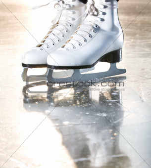 Dramatic natural portrait shot of ice skates