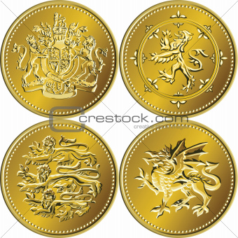 Vector set British money gold coin one pound with the coat of ar