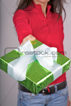 green present red sweater woman