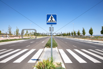lonely street with crosswalk
