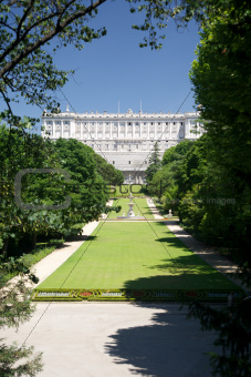 Madrid royal palace from Campo del Moro