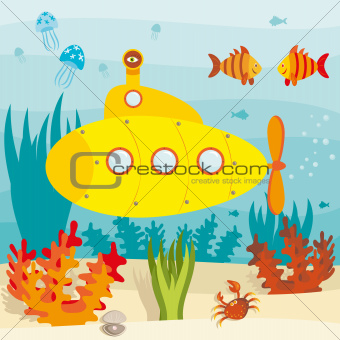 Cartoon submarine in ocean