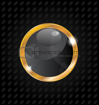 Golden luxury ball isolated on aluminum background
