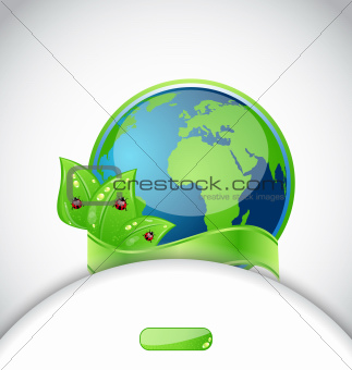 Green earth with leaves and ladybugs, background with emblem