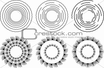 Six circular design elements in black and white