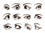 Human eye in various positions