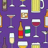 Seamless Cartoon Alcoholic Beverage Pattern