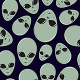 Seamless Cartoon Alien Head Pattern