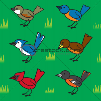 Seamless Cartoon Birds Pattern