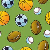 Seamless Cartoon Sports Ball Pattern