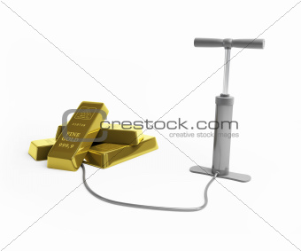 inflated the price of gold isolated on white background