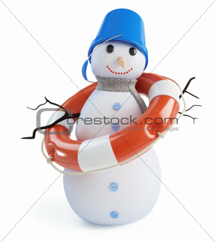 snowmen lifebelt on a white background