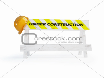 under construction helmet on a white background