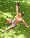 Working with kettlebell at outdoor