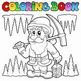Coloring book cartoon dwarf miner