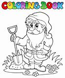 Coloring book cartoon garden dwarf