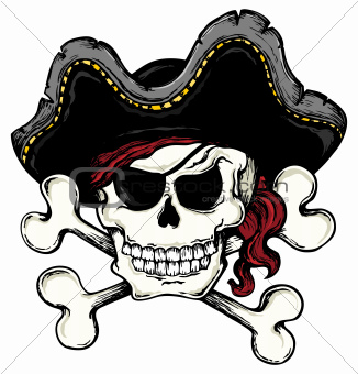 Vintage pirate skull theme 1