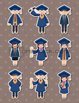 Cartoon Graduate students stickers