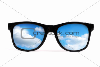 black sunglasses with sky reflection