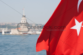 Turkish flag and Maiden tower in Istanbul