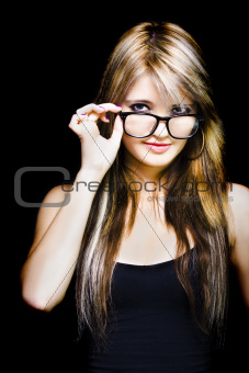 Beautiful Smiling Business Woman Wearing Glasses