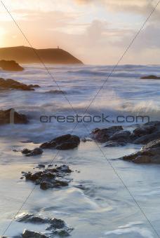 Cornwall Sunset Seascape, Polzeath, UK.