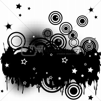 Background with splats, circles and stars