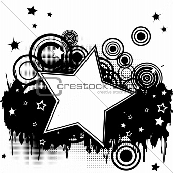 Grunge splash background with stars, circles and  place for your