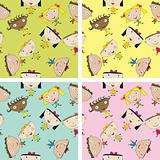 Set of children pattern with kids