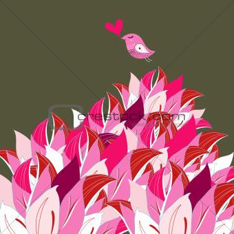 pink petals and a bird