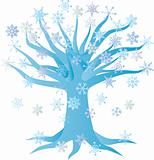 Winter Snowflake Tree Illustration