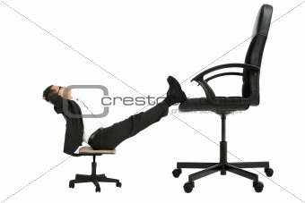 businessman sitting on the small chair leg on the big chair and thinking about promotion