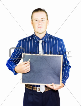 Business Man dressed man holding blank board