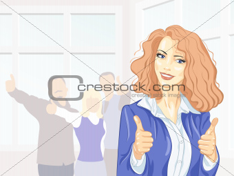 Beautiful young business woman with thumbs up at the office smil