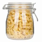 Pasta in glass jar