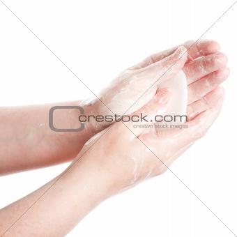 Washing female hands