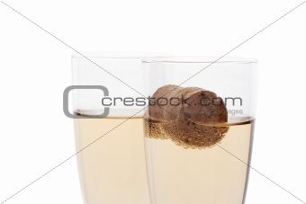 glasses of champagne with cork