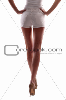 a woman in shorts