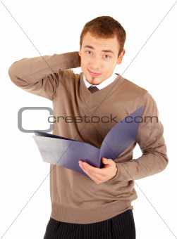 Young well-dressed perplexed man with documents