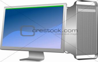 Flat computer monitor. Display. Vector illustration