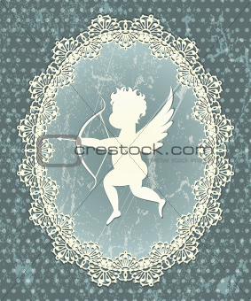 Cupid medallion with lace frame